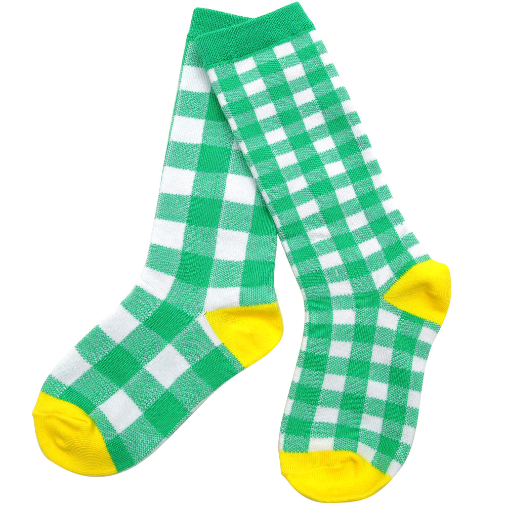 [10% 할인적용 7,500 →6,750]Green checked knee socks