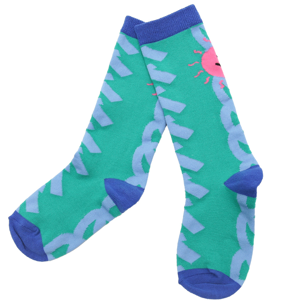 [여유수량 바로발송] Waves summer knee socks (GREEN)