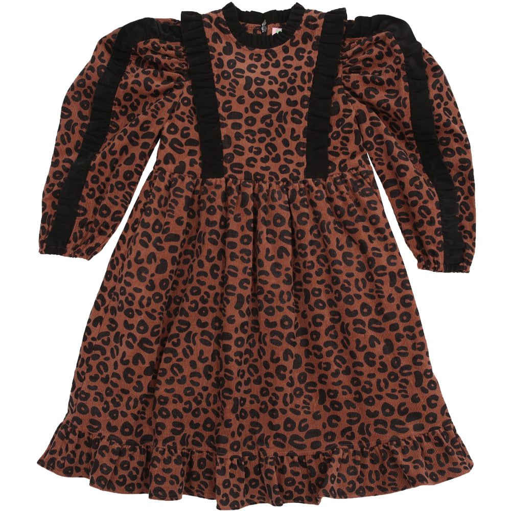 [프리오더 10% 할인적용 77,000→69,300] Leopard big puff sleeve frilled dress