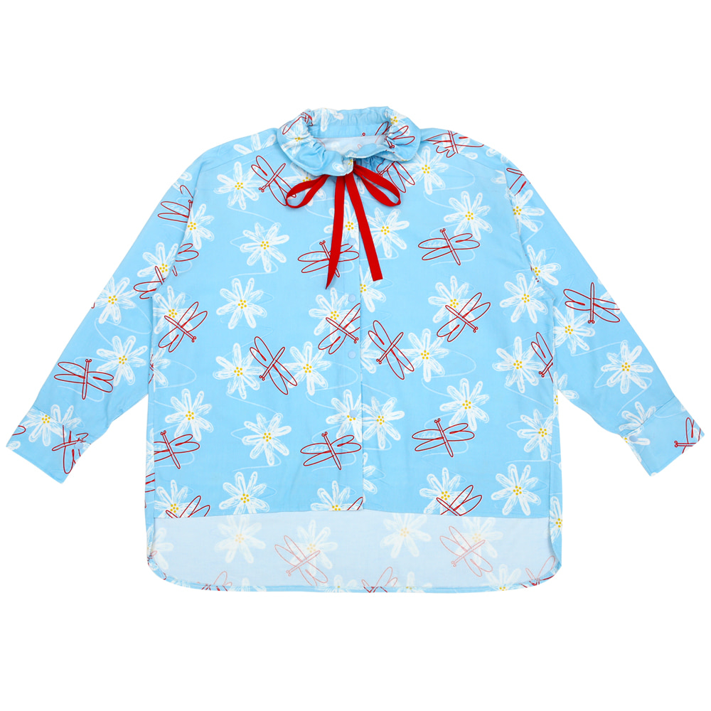 [카드결제만가능][B품 50% SALE] Sky blue cosmos flower dragonflies blouse(ADULT)