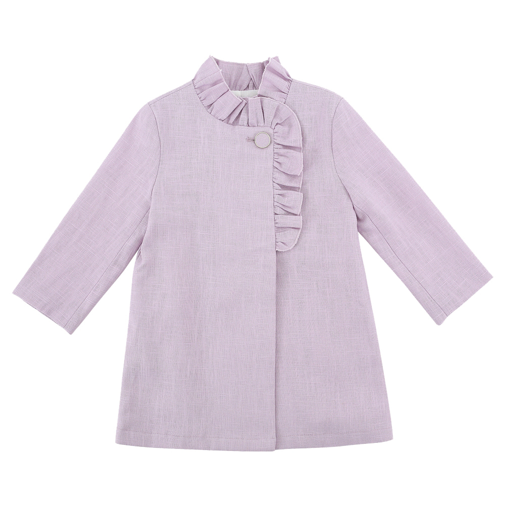 [SALE 89,000→44,500]RUFFLE LINEN COAT (light purple)