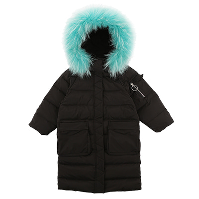 RACCOON FUR DOWN LONG PADDED JUMPER(black)