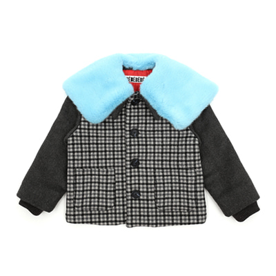 Skyblue fur collar checked jacket