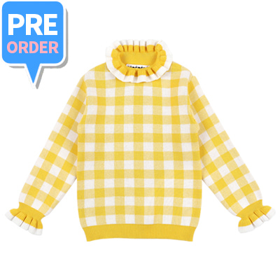 [PRE-ORDER] Gingham checked ruffled sweater