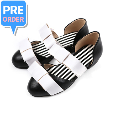 [프리오더 10% 할인 55,000won → 49,500won] BEBEBEBE Ribbon shoes (black)