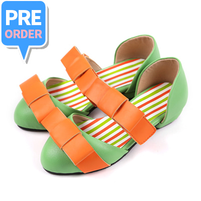 [프리오더 10% 할인 55,000won → 49,500won] BEBEBEBE Ribbon shoes (yellow green)