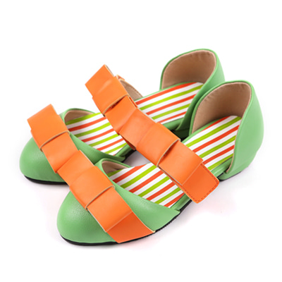 BEBEBEBE Ribbon shoes (yellow green)