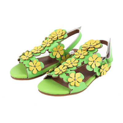 [여유수량판매] Flower sandal (yellow green)