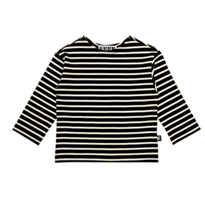 Striped cotton tee (Black)