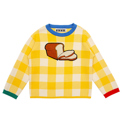 [바로배송] White pan bread cotton knitted sweater