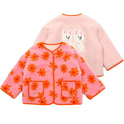 Winter flowers fleece reversible jacket