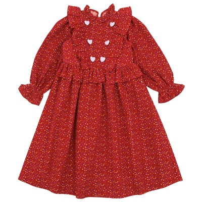 Lavender heart buttons corduroy dress