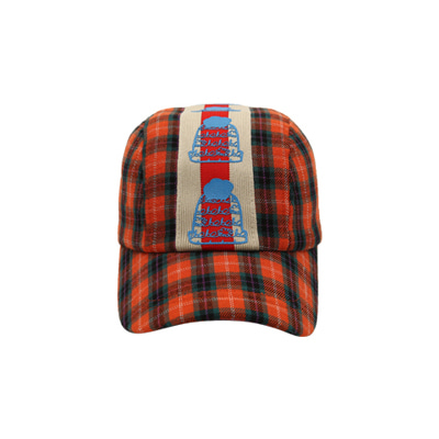 Orange checked cap