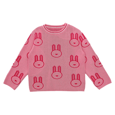 PINK BUNNY COTTON KNITTED SWEATER