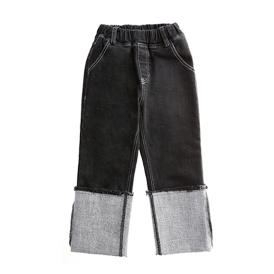 ROLL UP STRETCH DEEP GRAY JEANS