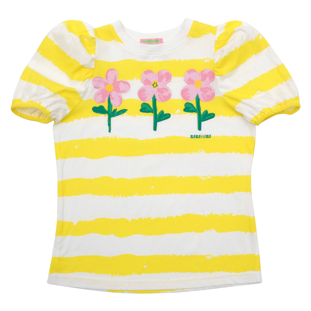[프리오더 15%할인적용 32,000→27,200] Flowers striped puff sleeve t-shirt
