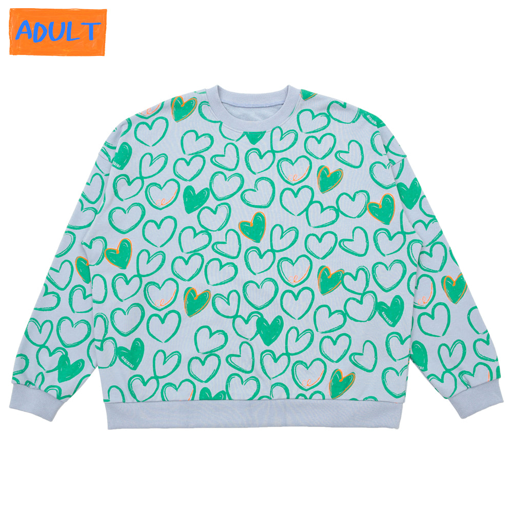 [프리오더 10%할인적용 43,000→38,700] Mint heart sweatshirt (ADULT)
