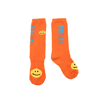 [프리오더 10%할인적용] BEBEBEBE smile new logo knee socks (ORANGE)