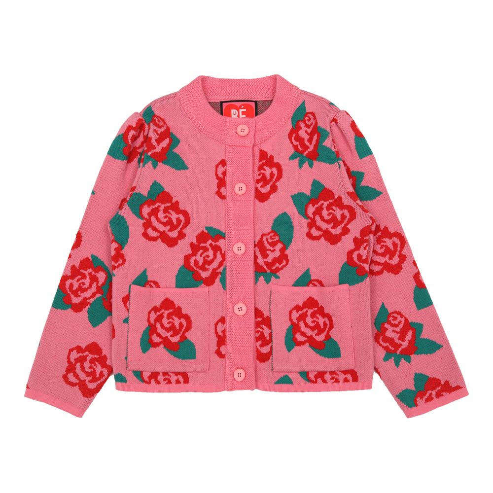 [바로배송] Pink rose puff sleeve cardigan