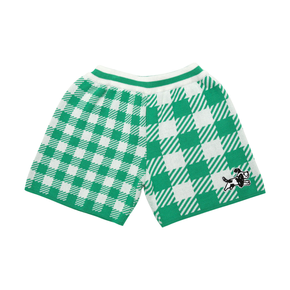 [프리오더 15%할인적용 39,000→33,150] Green check knitted shorts