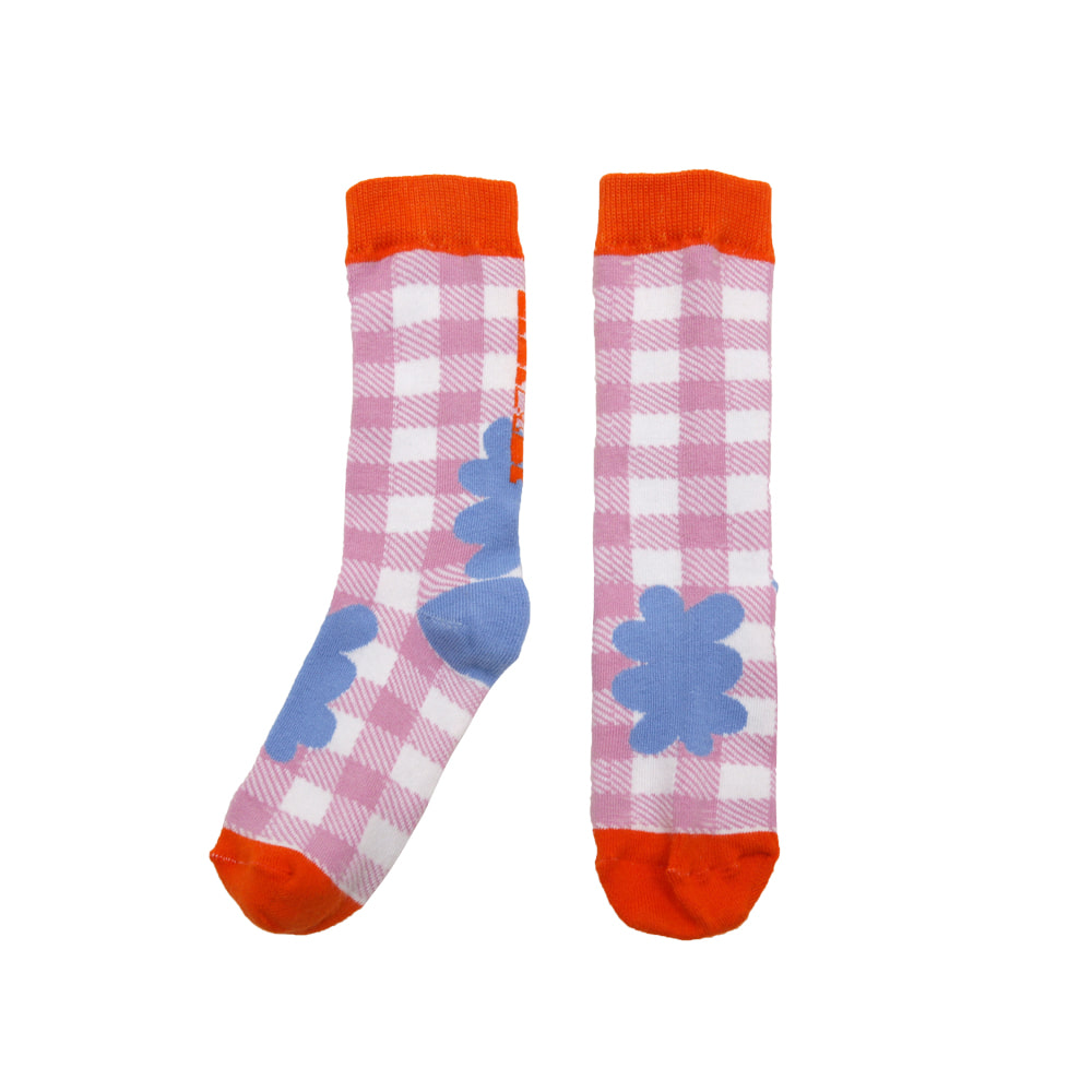 [프리오더 15%할인적용 7,500→6,375] Summer knee socks-check cloud
